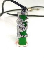 pilar de jade venda por atacado-Colar de pingente de prata natural dragão verde jade pilar