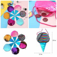 Wholesale key wallet online - 6Styles ice cream Mermaid Sequins Coin Purse With Lanyard mermaid Coin Pouch Bag Portable Glittler Wallet party favor bag xmas gift FFA1390