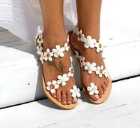 sandálias de casamento romanas venda por atacado-Verão Novo Roman Flor Plana Manga Moda Sapatos de Casamento de Salto Alto Sapato de Casamento das Mulheres Sapatos de Noiva Sandália Sapatos De Noiva