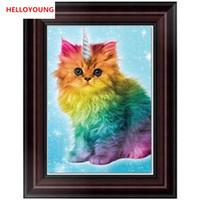ingrosso pitture astratte signora-YGS-630 fai da te 5D diamante parziale ricamo arcobaleno gatto pittura diamante rotondo kit punto croce diamante mosaico decorazione della casa
