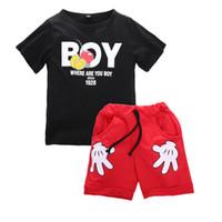 küçük çocuklar tişörtler toptan satış-Yürüyor Çocuk Bebek Erkek Karikatür Küçük Eller Baskılı 2 adet Tops Kısa Kollu T Gömlek Alt Pantolon Kıyafetler Giysileri Setleri 2-7 yıl