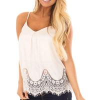 weiße spitze cami xl großhandel-Frauen sommer tops gespleißt spitze weste ärmellose weiße bluse beiläufige v-ausschnitt tank top femininas verstellbarer gurt cami py