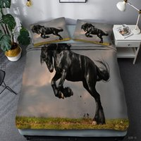 Wholesale animal horses bedding set 3d for sale - Group buy 3D Running Horse Print Duvet Cover Set with Pillow Cases Boys Mens Teens Bedding Animal Bedspreads NO QUILT