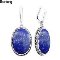 ingrosso orecchini d'argento lapis lazuli-orecchini lazuli grande ovale Natural Lapis Lazuli orecchini per i monili TE371 del fiore della cavità di modo del pendente del partito delle donne placcati argento antico