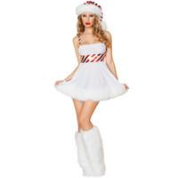 frauen santa outfit groihandel-Sexy Damen Christmas Snow Frauen-Schneemann-Outfit Weiß Fräulein Weihnachtsmann-Kostüm