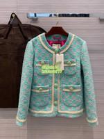 trimmer para niñas al por mayor-milan chaqueta de tweed con letras de diseñador de lujo para niñas y mujeres con botones de cristal pasarela de moda femenina Abrigo de blazer con ribete de cinta de marfil