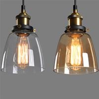 ingrosso lampade da bar rustiche-Retro lampada a sospensione industriale d'epoca rustico paralume in vetro paralume per camera da letto bar soggiorno illuminazione domestica