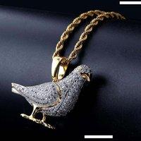 altın barış kolye toptan satış-Moda Zirkon Kolye Nefis luxuy Zirkon Asfaltlanmış kolye Salkım 18K altın kaplama Güvercin Peace and Love Hip Hop Salkım LN141
