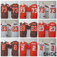 maillots élite orange achat en gros de-New Brown Elite # 2 # 23 # 73 Blanc Brown Drapeau Jersey orange Jersey américain Fashion Elite Jersey Cleveland