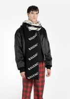 Wholesale models scarfs resale online - scarf Autumn and winter Europe Paris show models unisex black and white letters two color double sided tide brand scarf