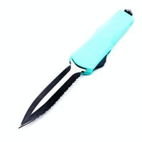 Wholesale self defense lights resale online - big A07 inch light blue double action tactical self defense folding double edc action knife automatic knife automatic knives xmas gift bm47