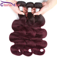 Wholesale human hair weave extensions for sale for sale - Group buy Dark Roots Wine Red Ombre Extensions Human Hair Malaysian Virgin Body Wave Bundles Full Head B J Wavy Colored Weaves For Sale