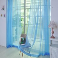 ingrosso pannello di tulle puro-Pure Color Tulle Door Window Curtain Drape Panel Sheer Scarf Valances Tulle Curtain Home Window Decoration