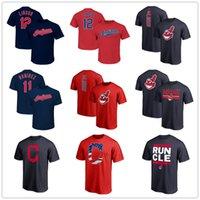 tişörtlü baskılı isim toptan satış-Beyzbol forması Francisco 12 Lindor 11 Ramirez Cleveland erkek tasarımcı t-shirt Fanlar Tops Tees baskılı Logolar Oyuncu Adı Numarası