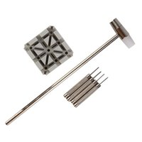 Wholesale tools sets punches resale online - 6pcs Watch Band Strap Removal Link Pins Holder Punch Hammer Repair Tool Set High Quality Tools
