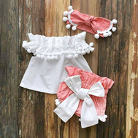 ingrosso vestito dalla neonata 24m-Estate Neonati Vestiti da ragazza Principessa Tops Dress + Shorts Outfits Set 0-24M