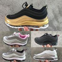 ingrosso bambina della scarpa dell'argento-Nike air max 97 Scarpe da bambino per bambini Og Triple white Scarpe da corsa Bambina da ragazzo Metallic Gold Silver Bullet Pink Sneaker da uomo