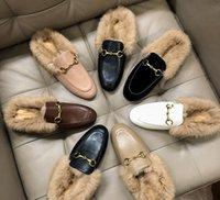 ingrosso le scarpe reali del coniglio-Pantofole pigre in vera pelliccia da donna di lusso Designer di marca in vera pelle Mocassini eleganti Scarpe da donna in pelle Pantofole in pelliccia di coniglio Immagini reali