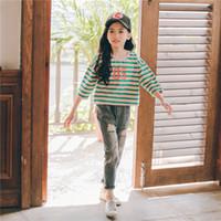 pantalones de tres cuartos chicas al por mayor-2019 moda Algodón a rayas tres cuartos de manga vaqueros pantalones largos niña otoño otoño ropa conjunto