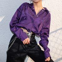 ingrosso cappotto lungo viola delle donne-7Mang 2019 Spring Women Purple Cropped Jacket Streetwear Loose Short Coat Ladies Risvolto a maniche lunghe Tuta sportiva sexy 1223