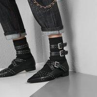 çorap çorabı toptan satış-Teahoo Gerçek Deri Kadınlar Çizme Gümüş Perçin Bilek Buckle Boots Kadınlar Moda Sokak Stili Çorap Punk Ayakkabı Kadın
