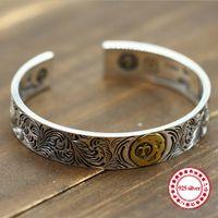 bracelet aigle achat en gros de-Sterling Silver Open Bangle personnalisé mode rétro en laiton indien Eagle Feather Style haut de gamme sculpté simple bracelets cadeau