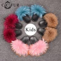 ingrosso grandi pantofole per bambini-Pantofole in pelliccia per bambini Scivoli in vera pelliccia di procione Scarpe per bambini Big Fluffy Mom Kids Style S6024