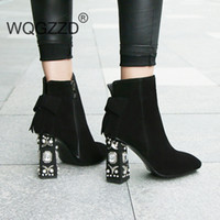 Wholesale women diamond open toe heels for sale - Group buy ankle boots women winter shoes cow suede string bead diamond high heel women preppy style ankle boots mujer
