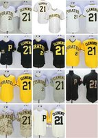 Wholesale clemente baseball jersey black for sale - Group buy Pullover Pirates Clemente Flexbase Coolbase White yellow black camo Gray Baseball Jersey Stitched throwback Top Quality