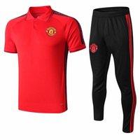 traje marcial al por mayor-al por mayor de 1819 Manchester United Soccer Pogba lingard jerseys corta SLEEVER Traje del chándal Rashford traje de entrenamiento de fútbol de polo MARCIALES
