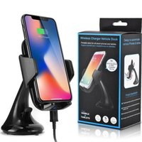 android-handy-ladestation großhandel-10,8 watt qi drahtlose auto-ladegerät handyhalter halter schnellladung stand für iphone 8 x xr xs samsung s8 s9 s10 android-handy