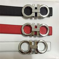 cinturones de marcas al por mayor-2018 Cinturón clásico de moda Cinturón de marca Cinturón de lujo de gama alta para hombres y mujeres de gama alta hebilla de metal cinturón a cuadros