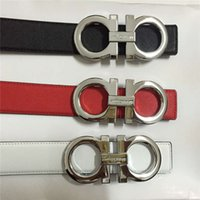 Wholesale belts brand names resale online - 2018 Fashion Classic Belt Brand name brand belt luxury high end male and female letters metal buckle head plaid belt