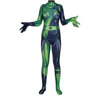 verde do bodysuit do catsuit venda por atacado-Mulheres Menina Cosplay Halloween Verde Shego Superhero Lycar Spandex Alta Qualidade Zentai Bodysuit Macacão Sexy Catsuit