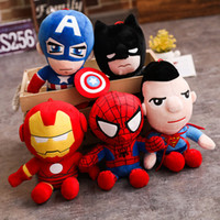 Wholesale wholesale superman toys online - The Avengers Marvel Plush Toys Kids Iron Man Captain America Spiderman Superman Batman Soft Sutffed Boy Girl Gifts kawaii Q style Toys Gifts