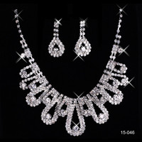 Wholesale pageant earrings necklace resale online - 15046 Cheap Hot Sale Womens Bridal Wedding Pageant Rhinestone Necklace Earrings Jewelry Sets for Party Bridal Jewelry