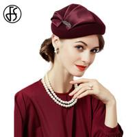 ingrosso cappelli nero fedora per le donne-Fascinators dei capelli della lana di signora elegante di 100% per le donne di nozze Cappello Rosso di vino nero con i cappelli della pillola del fiore Feltro Fedora