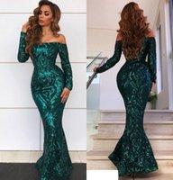 lentejuela verde esmeralda al por mayor-2019 Sexy New Emerald Green Vestidos de fiesta con hombros descubiertos Mangas largas Con lentejuelas Apliques de encaje Sirena hasta el suelo Lentejuelas Vestidos de fiesta de noche