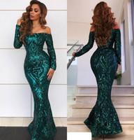 ingrosso pavimento d'epoca smeraldo vestito-2019 Sexy New Green smeraldo Prom Dresses Off spalla maniche lunghe paillettes Appliques di pizzo Mermaid pavimento lunghezza paillettes abiti da sera del partito