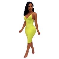 correias fluorescentes venda por atacado-Mulheres Boho Designer Vestidos de Verão Sexy Ladies Skinny Fluorescente Cor Clube Vestidos Backless Spaghetti Strap Womens Lápis Vestido