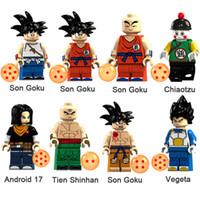brinquedos android venda por atacado-Dragon Ball Z Filho Goku Chiaotzu Android 17 Tien Shinhan Vegeta Mini Figura de Ação Toy Building Block Bricks