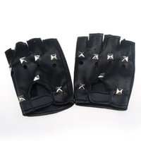 Wholesale half finger leather driving gloves resale online - 1Pair Synthetic Leather Black Driving Motorcycle Bicycle Fingerless Gloves Men Women Gloves Fashion Sale Half Finger