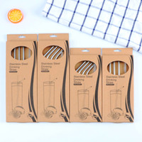 Wholesale baby tools set for sale - Group buy Reusable stainless steel straw set metal short bend straight protection coffee straws drinking tools Baby Feeding TTA1426