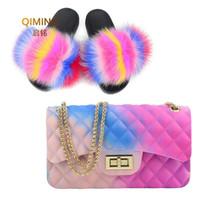 bolsas de bolsa rosa venda por atacado-Slides de pele de mulher-aba arco-íris bolsa geléia colorida bolsa de ombro sapatos mulheres chinelos de pele macia bolsa pvc doces saco crossbody