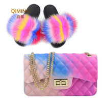 Wholesale candy pink shoes resale online - Woman Fur Slides Flap Rainbow Handbag Colorful Jelly Shoulder Bag Shoes Women Fluffy Fur Slippers Purse Pvc Candy Crossbody Bag