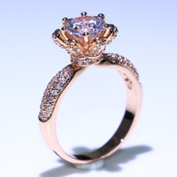 Wholesale pave diamond white gold resale online - USpecial Off Discount Jewelry Sterling Silver Rose Gold Fill Round Cut White Topaz CZ Diamond Flower Promise Women Wedding Band Ring
