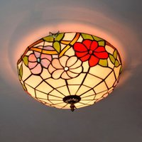 cortinas de la lámpara de techo de cristal de la vendimia al por mayor-16 pulgadas Vintage vidrio flores sombra lámpara de techo vidrieras pasillo luz balcón dormitorio lámpara sala de estar luces de techo