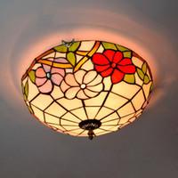 ingrosso tonalità di lampade da soffitto in vetro d'epoca-Plafoniera in vetro vintage a 16 pollici con paralume in vetro colorato