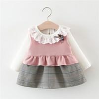 ingrosso modello coreano abiti-Abbigliamento per bambini 2019 Modelli primaverili Ragazze in stile coreano Vestito in due pezzi Vestito di moda Fabbrica di hot kids