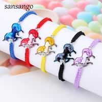 Wholesale cute anklets for women resale online - Lovely Braided Rope Unicorn Bead Bangle Bracelet Cute Cartoon Horse Weave Ropes Anklets Bracelets Jewelry For Girl Women